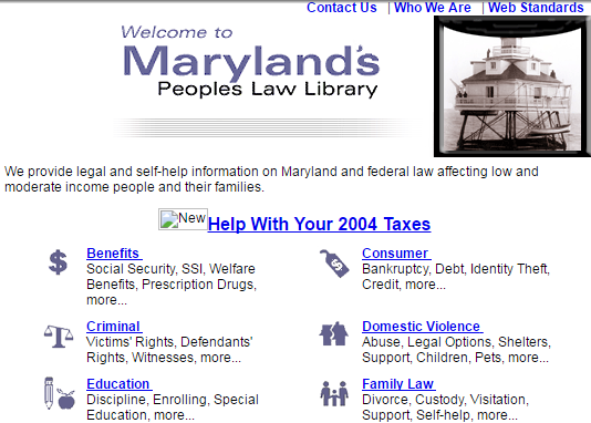 Clip from screenshot of front page of People's Law site, February 4, 2005