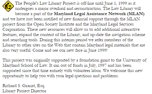 Clip from screenshot of front page of People's Law site, March 2, 1997