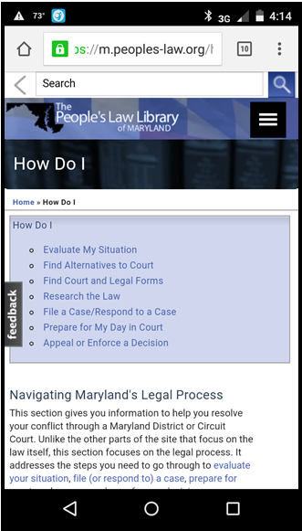 Clip from mobile screenshot of People's Law site, 2016